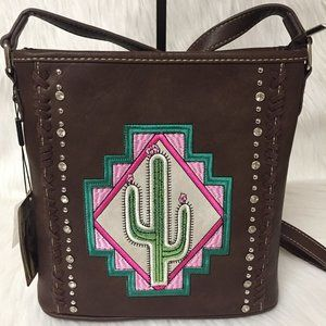 Montana West Leather Aztec Cactus Crossbody Bag